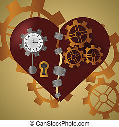 Steam Punk Heart - Broken steam punk heart with metal...