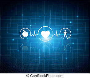 Healthy living symbols on a technology background Cardiology...