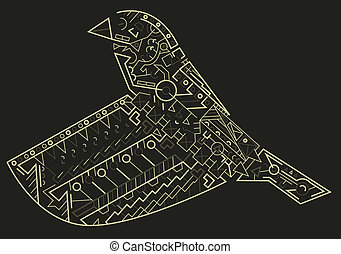 Geometry Bird - Bird called a finch made out of various...