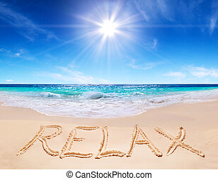 """word """"relax"""" on the tropical beach"""