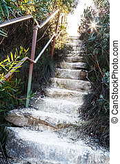 Stone Steps Upwards with Sunflare - Stone steps leading up...