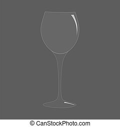 Blank tall transparent realistic wine glass