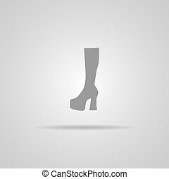 Woman Hessian boots icon isolated on gray background EPS10