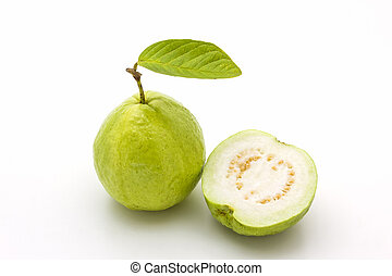 Guava on white background Fruit with from tropical zone