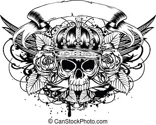skull corona roses - Vector illustration human death skull...