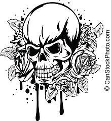 skull roses - Vector illustration human death skull with...
