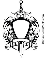 skulls sword frame - Vector illustration human death skulls...