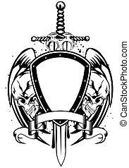skulls sword frame - Vector illustration human death skulls...