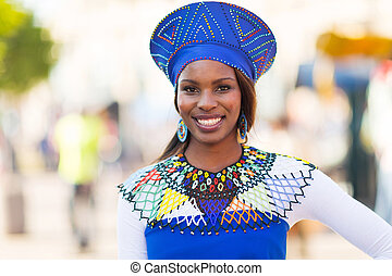 young african woman in traditional clothes - portrait of...