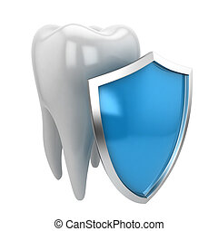Tooth and shield. 3d illustration isolated on white...