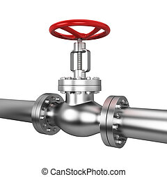 Metal valve. 3d illustration isolated on white background