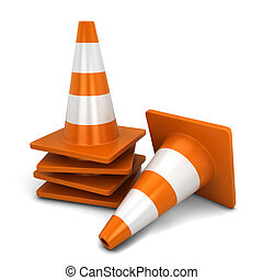 Traffic cone. 3d illustration isolated on white background