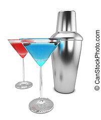 Shaker and martini 3d illustration isolated on white...