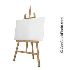 Easel with blank canvas 3d illustration isolated on white...