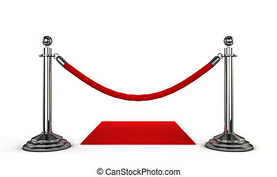 Red carpet 3d illustration isolated on white background