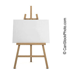 Easel with blank canvas. 3d illustration isolated on white...