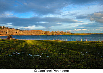 Ebro reservoir at sunset Cantabria Spain