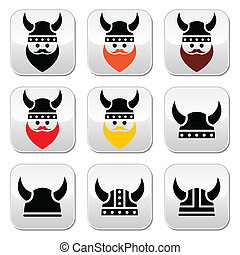 Viking warrior in helmet buttons se - Ancient Viking buttons...