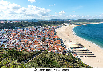 View of Nazare and the beach Portugal - View of Nazare with...