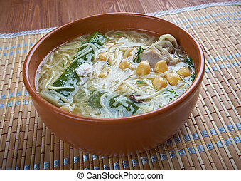 Algerian Rechta Maghreb chick chicken noodle soup