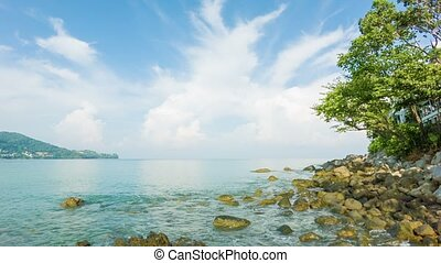 Deserted tropical sea shore with rocks and tree against a beautiful sky