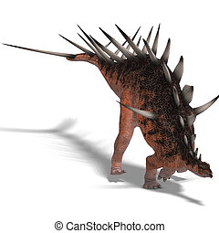 giant kentrosaurus dinosaur. 3D render with clipping path...