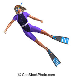 female diver with snorkel - female diver in colorful diving...