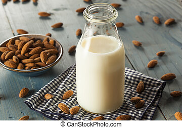 Organic White Almond Milk in a Jug