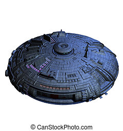 alien imperial cruiser - an alien mothership. 3D render with...