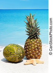 Pineapple and melon on the beach