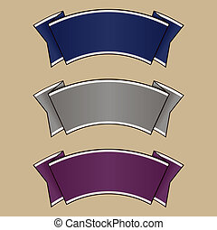 Blue, gray and purple ribbon set. Vector