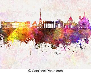 Saint Petersburg skyline in watercolor background