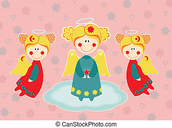 Three angels on a cloud. Greeting card