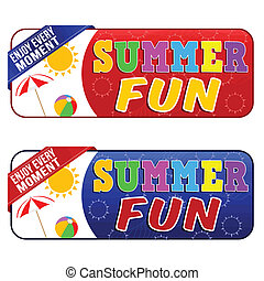 Summer fun banners on white background, vector illustration