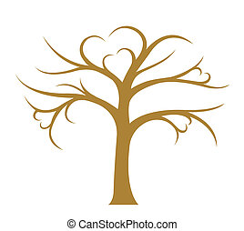 Tree without leaves on white background, vector image