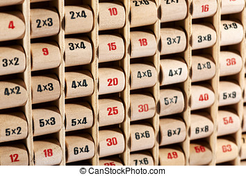 Wooden childs multiplication table - Close up view of an...