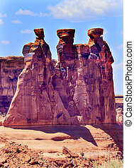 Three Gossips Rock Formation Canyon Arches National Park...