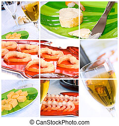 Wine, Shrimp, Bread and Butter Collage - Food Collage with...