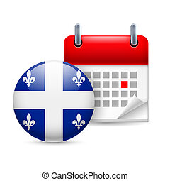 Icon of National Day in Quebec - Calendar and round flag...
