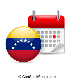 Icon of National Day in Venezuela - Calendar and round...