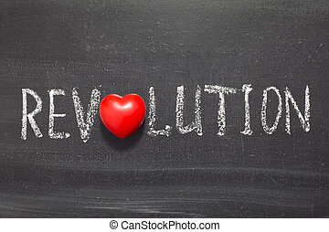 revolution word handwritten on chalkboard with heart symbol...