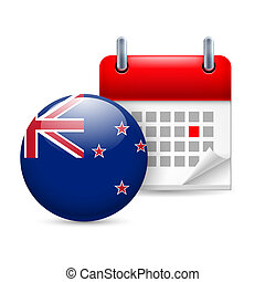 Icon of National Day in New Zealand - Calendar and round...
