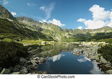"""Pond in the Tatra Mountains, Poland - """"Valley of five ponds""""..."""