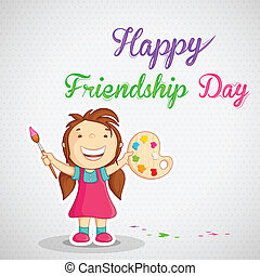 Girl painting Happy Friendship Day message