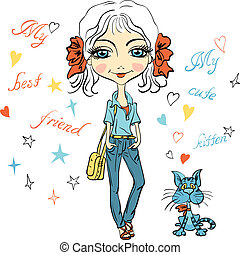 Vector Pretty fashion girl with kitten