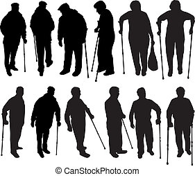 Senior .Silhouettes of people.