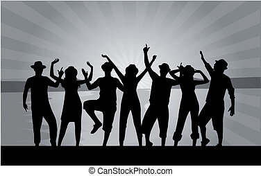 group of happy young people dancing at the beach