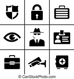 Security and safety icons set vector illustration