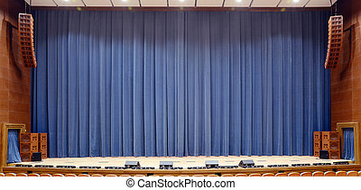 Theater curtain - Closed blue velvet theater curtain