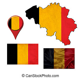 grunge belgium flag, map and map pointers